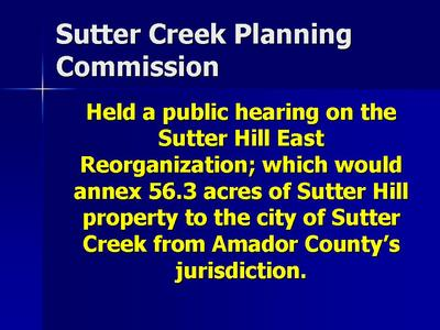 Sutter Creek Planning Commission: Annexation Still Being Discussed