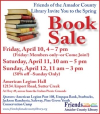 Friends of the Amador County Library Book Sale April 10-12